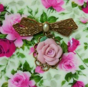 🌷Shabby Chic Rose Pendant Brooch 🌷